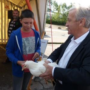 le président Jourdain n'a pas peur des poules