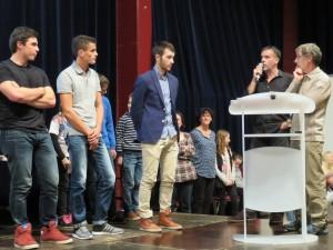Avec ds athlètes comme Justine & Thibault Lecomte, Quentin Pierre et Paul Tixier (au centre), l'ASG Aviron n'a pas laissé leur part au chien