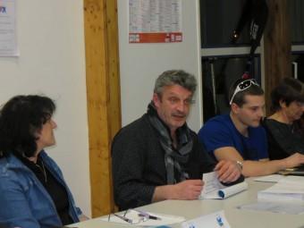 Le président du club Ludovic George en compagnie de Christophe Poulain et de l'adjointe aux sports Nadine Bassière