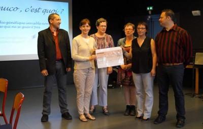 Alban Febvay (à gauche) en compagnie des élues de la municipalité locale et du Dr Dérelle, sans oublier Sylvia Bérard et Georges Grosjean (à droite)