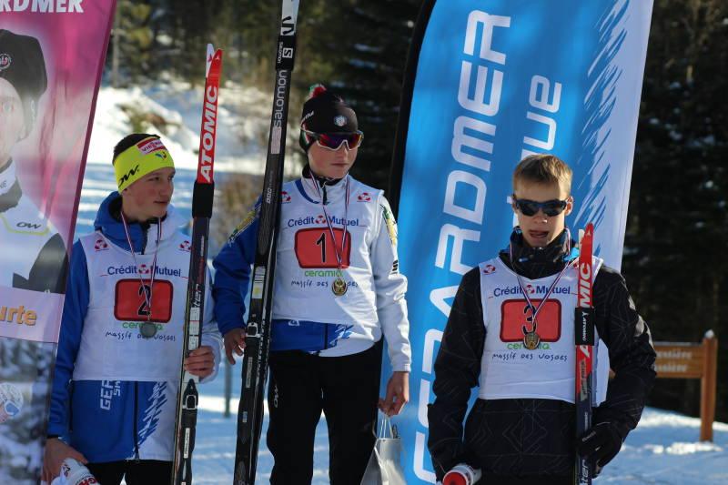 podium U14 de la Géromoise (1 Mario POIROT, 2 Corentin Jacob et 3 Mathurin VAUTHIER