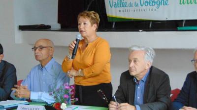 Liliane Lalevée entourée de Michel Gorges son secrétaire et du vice(président du Conseil Départemental Benoît Jourdain (à droite sur la photo).