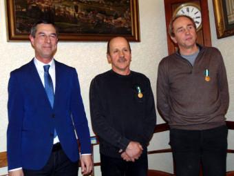 Patrick Didier et Eric Badonnel lors de leur remise de médaille.