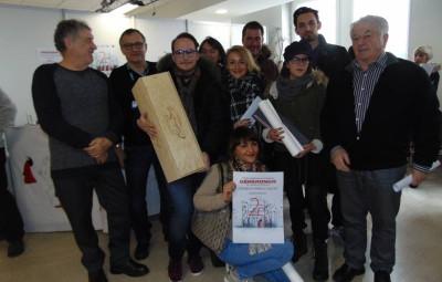 Les grands gagnants du concours  en compagnie du président Pierre Sachot et de l'adjoint au maire Jean-François Duval