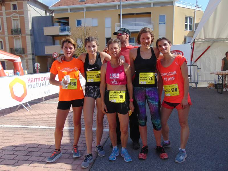 Le Top 5 de cette Run Attitude version course avec de gauche à droite : Céline et Elisa, Patricia, Gaëlle et Virginie les deux Gérômoises.