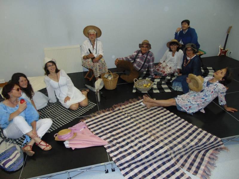 L'atelier adultes avec Annabelle, Christelle, Justine, Coralie, Luc Laurence et les deux Catherine !