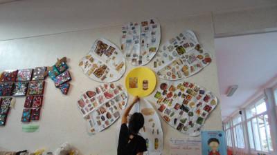 La tulipe avec les diffrents groupes d'aliments étaient affichés afin d'aider les enfants à faire leur choix !