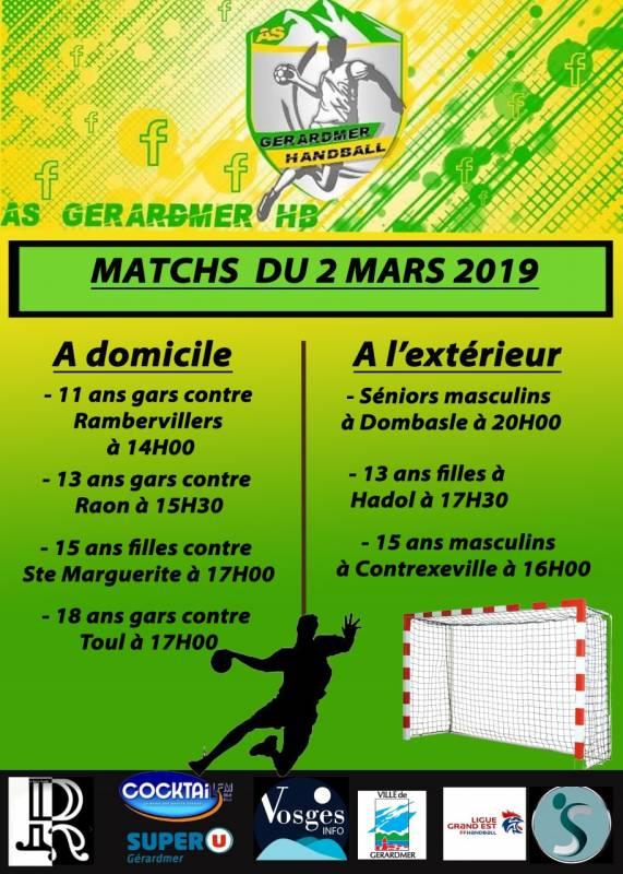 matchs hand ffiche 2019