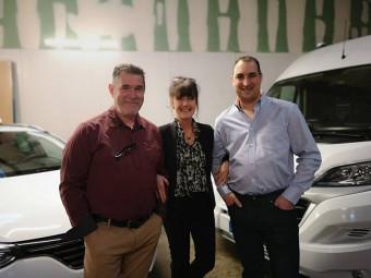 Robby, Evelyne et Francis lors de la réception qui a eu lieu vendredi soir dans les locaux e la société.