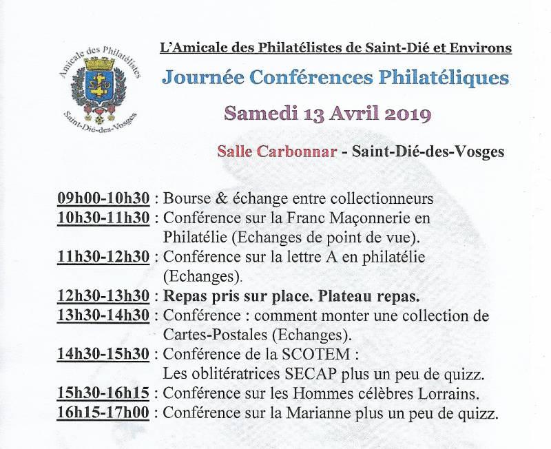 conférence st dié philatelie