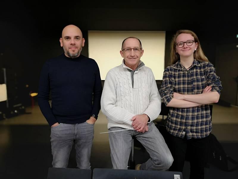 """Michael Cuvillon, Martial Theureaud et Pauline Duval qui aura le plaisir de diriger """"Un homme & une femme"""" ainsi que """"Lil darling"""" lors de la 1ère partie."""