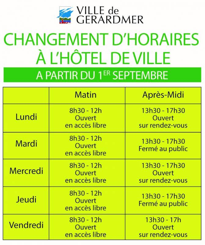 horaire HDV 2021
